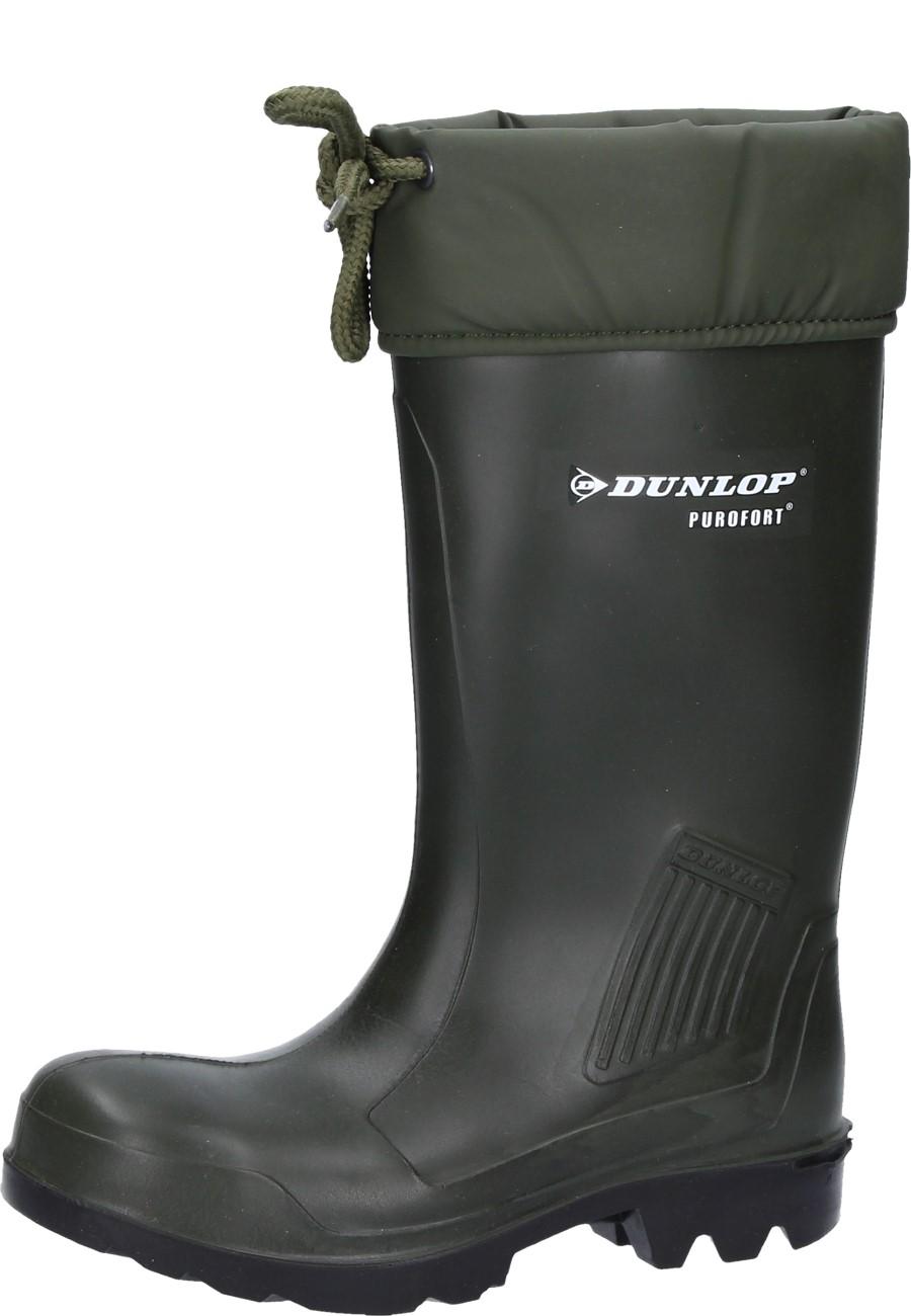 Dunlop Gummistiefel Thermoflex grün mit Stahlkappe, Trittschutz und Winterfütterung EN 345 S5