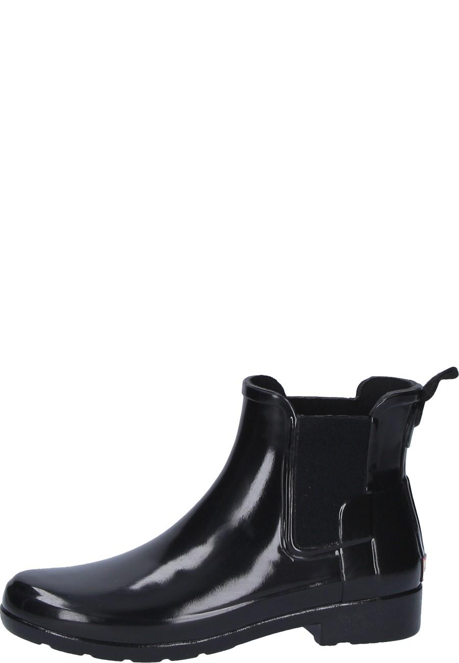 new product e582e 62d61 Hunter Damen Gummistiefelette ORIGINAL REFINED CHELSEA GLOSS black