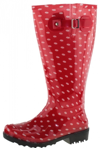 Wide Wellies Weitschaft Gummistiefel WIDE WELLIE Red Polka Dots XL