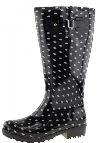 Wide Wellies Weitschaft Gummistiefel WIDE WELLIE Black Polka Dots XL