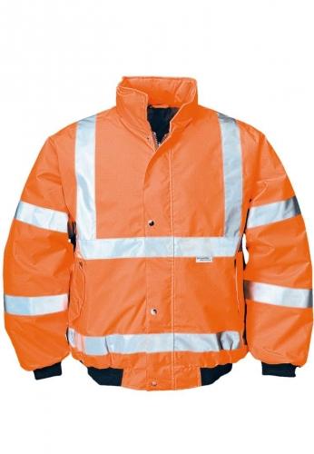 Warnbau-Pilotenjacke mit Reflexstreifen in oranger Signalfarbe