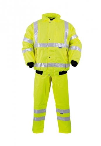 Warnbau-Pilotenjacke mit Reflexstreifen in gelber Signalfarbe