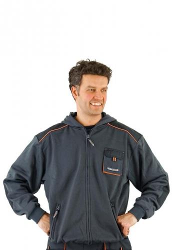 Terratrend Job Berufskleidung - Pullover mit Kapuze und Reißverschluss in grau der Marke Terratrend