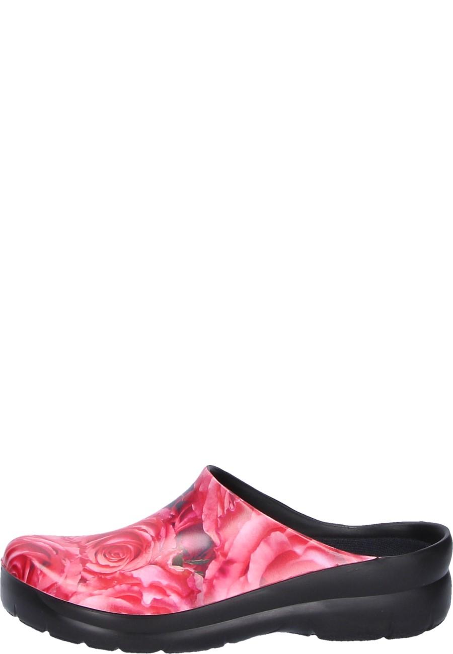 new style 8959c e4157 Picture Clog by Alsa -Rosen- der rote PU Schuh mit auswechselbarem  Korkfußbett